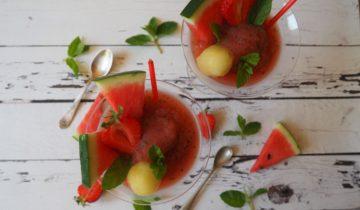 Granita z melona, arbuza i świeżej mięty
