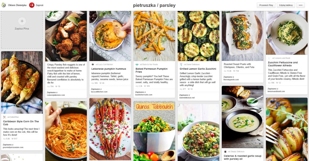 pinterest - tablica inspiracji kulinarnych z daniami i napojami z pietruszką