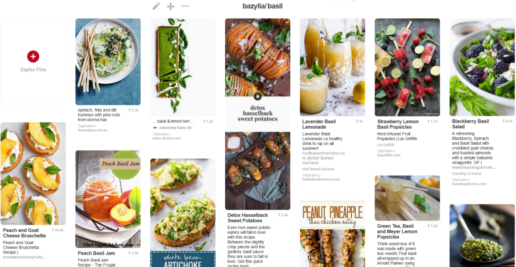Pinterest - tablica inspiracji kulinarnych na dania, desery i napoje z bazylią