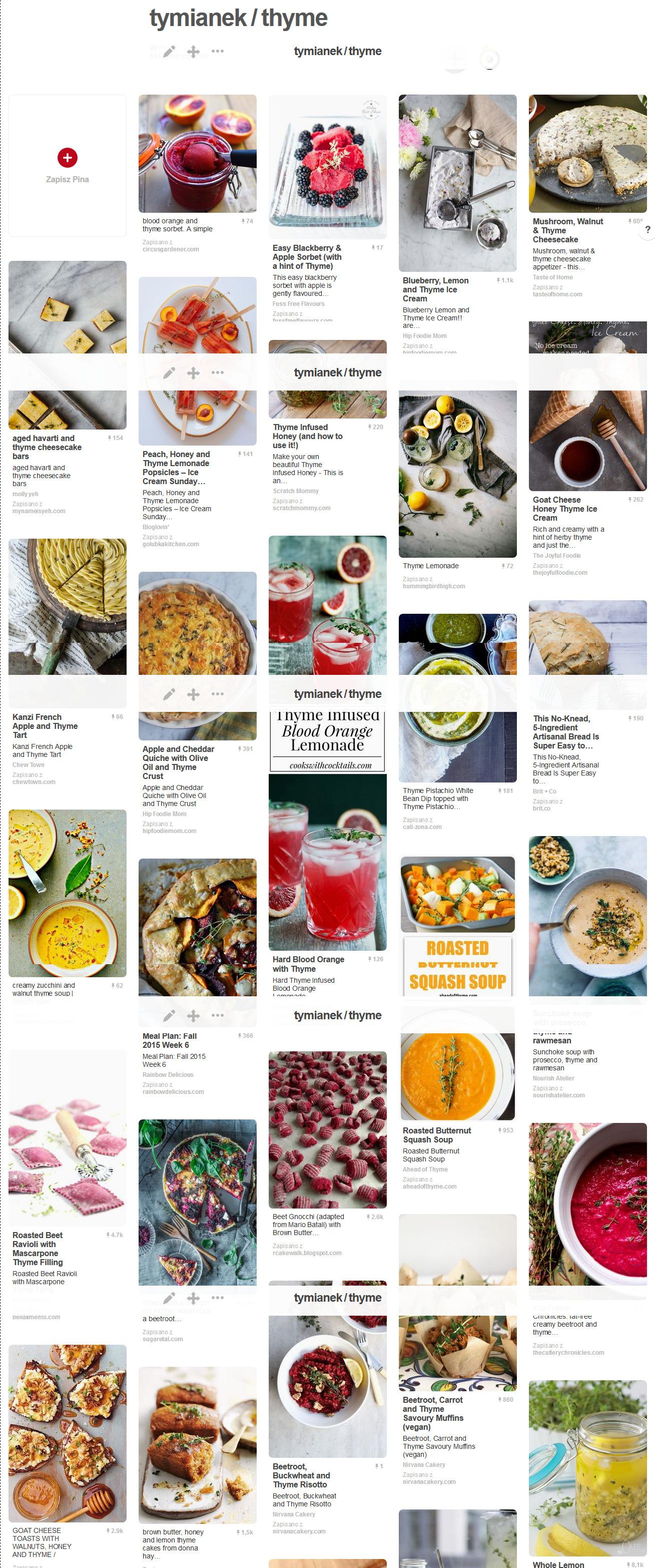 Dziesiątki pomysłów na dania słodkie i słone z wykorzystaniem tymianku i innych składników znajdziesz na moim Pintereście