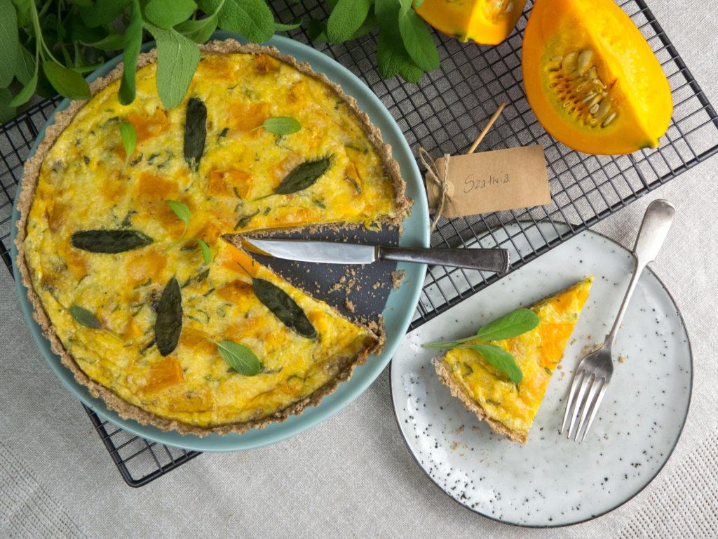 Tarta quiche z pieczoną dynią,owczym serem i szałwią