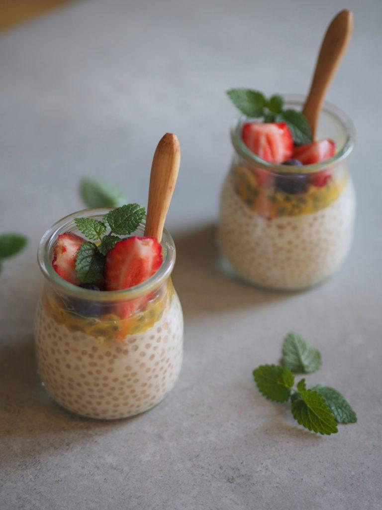 pudding z tapioki z owocami