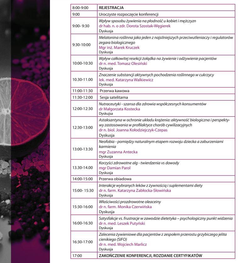 Trends in Dietetics: harmonogram konferencji