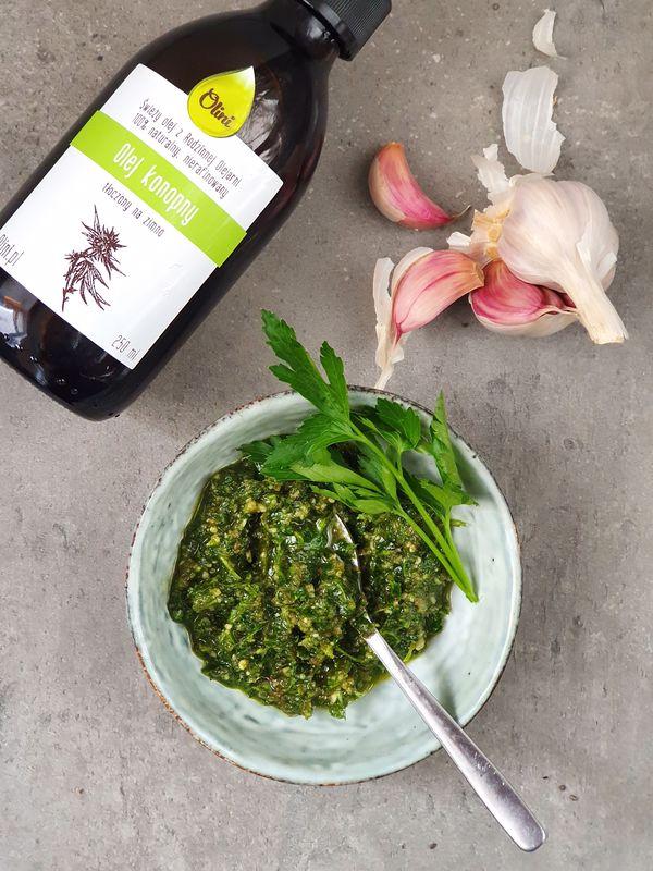 omega-3 na diecie roślinnej olej konopny pesto